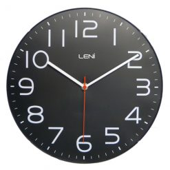 Black faced clock with minimalist white numerals and thin hands