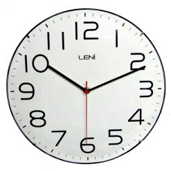 Large white clock face and black numbers