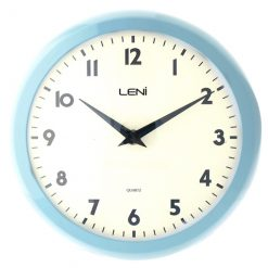 Light blue coloured frame metal clock