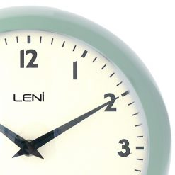 Close up showing clean texture and metal frame of clock