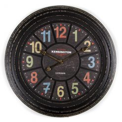 Black clock face and frame with pastel numerals