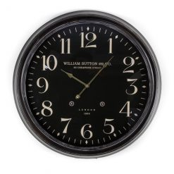 Large wall clock with black face