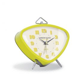 The astro alarm clock in lime with bold numbers and a chrome triangle hook