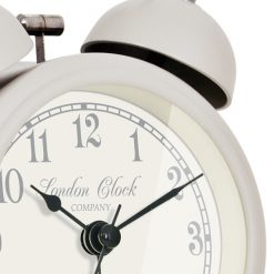 The charlotte soft grey alarm close is detailed with black hands and fine etching around the numbers.