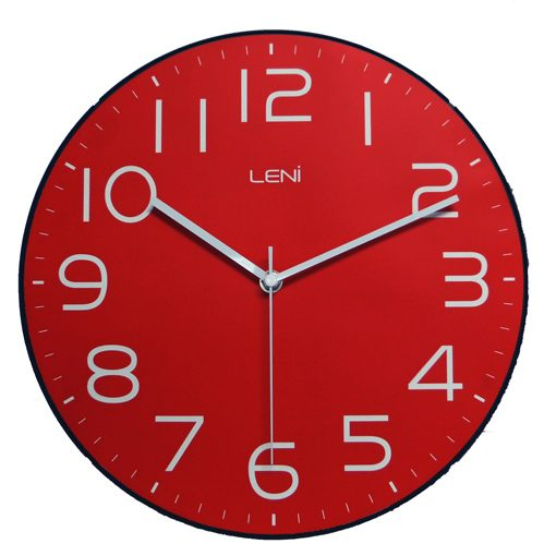 Bright bold red coloured wall clock with simple elegant design