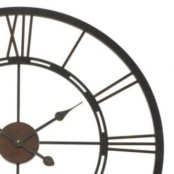 Close up of roman numerals wall clock made from iron