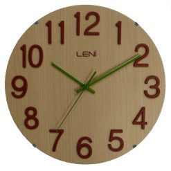 Blond wood wall clock with bold red numerals and slender green clock hands