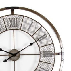 Close up of large 80cm iron wall clock.. Modern industrial design