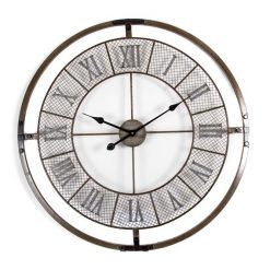 Large 80cm wall clock made from iron with mesh design