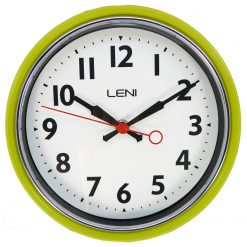 Funky lime coloured classic wall clock by Leni