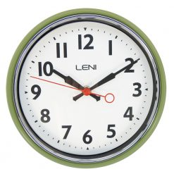 Sage coloured Leni essential wall clock with bold numerals