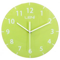 Lime green coloured glass wall clock by Leni