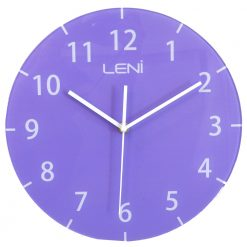 Funky purple glass wall clock by Leni