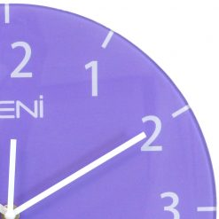 Image shows the bright purple colours of the glass in wall clock