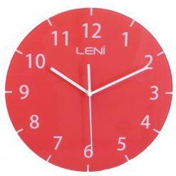 Bold red coloured glass wall clock shown front on