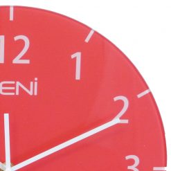 Smooth contoured glass edges of Leni red wall clock