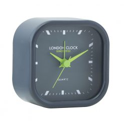 Charcoal alarm clock with lime green hands