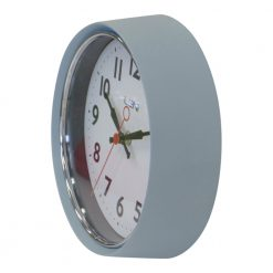 light blue clock with black numerals