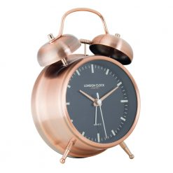 Blaze alarm clock shown with brass finishes
