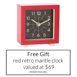 Bonus free gift red retro mantle clock valued at $69 - for a limited time only
