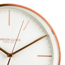 Close Up image of Artemis Copper Wall Clock with Light Grey Trim