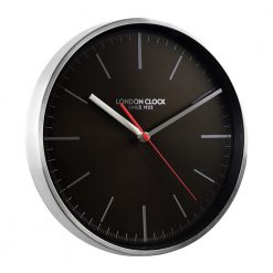 Image of Glide Silver and Black Wall Clock with Silver Trim