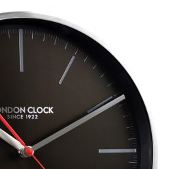 Close Up image of Glide Silver and Black Wall Clock