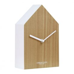 Image of Hus Wood Mantel Clock with White Edge