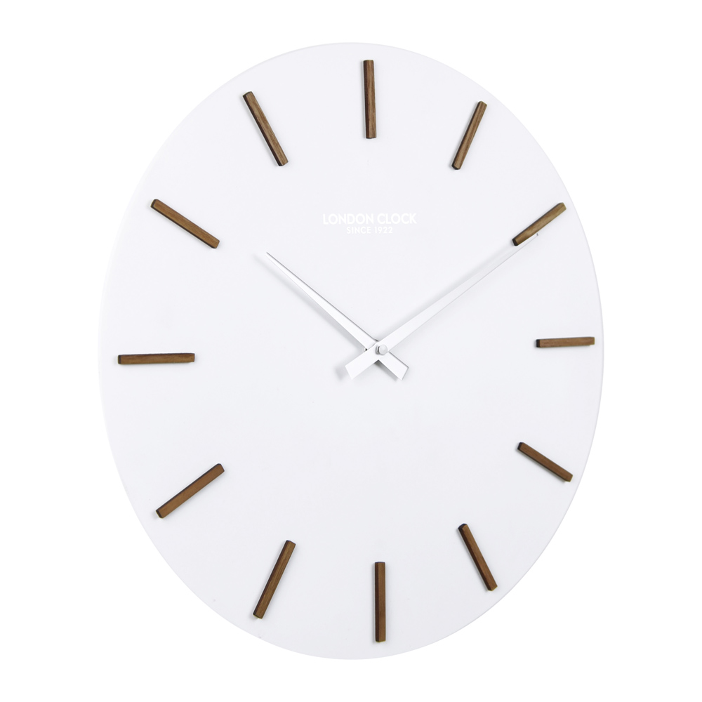 Buy hvit white wood marker wall clock online purely wall clocks - Mondaine wall clock cm ...