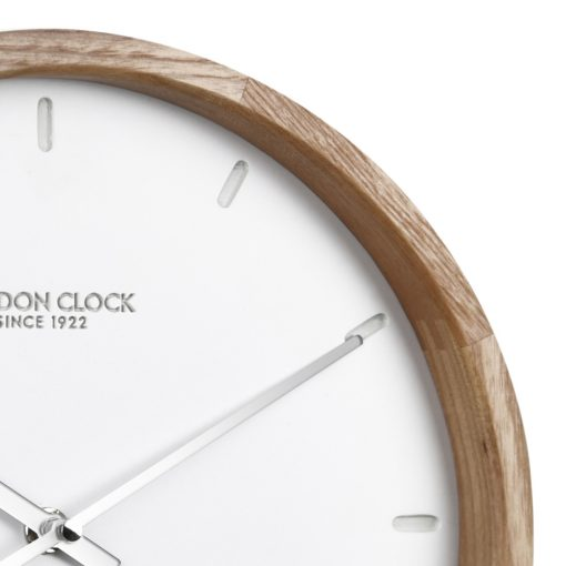 Close Up image of Klokke Wood Case Wall Clock with Wooden Edge