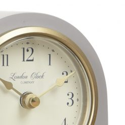 Close Up image of Lily Grey Mantel Clock Small with Gold Trim
