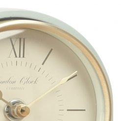 Close Up image of Molly Green Mantel Clock Tall with Green and Gold Trim