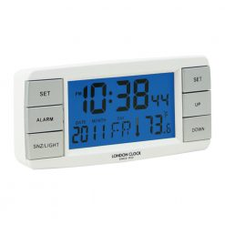 Image of Signal White LCD Alarm Clock with Digital Design