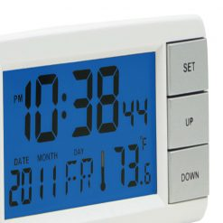 Close Up image of Signal White LCD Alarm Clock with Digital design