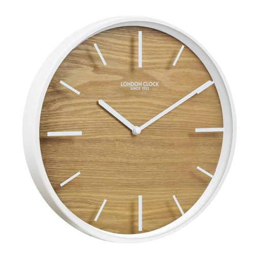 Image of Skog White Case Glass Wall Clock with Off-White Trim