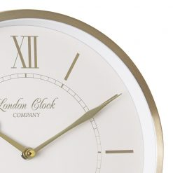 Close Up image of Sophie Gold Wall Clock with Gold Trim and Roman Design