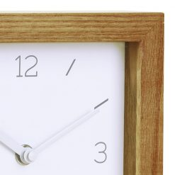 Close Up image of Tid-Wood-Block-Mantel-Clock with Wooden Edge