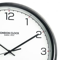 Close Up image of Turbo Date Wall Clock with Grey and Black Trim