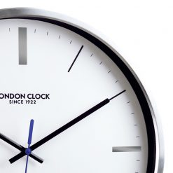 Close up image of Vantage Silver Wall Clock with Black Trim