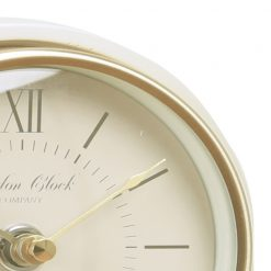 Close Up image of Verity Cream Mantel Clock Tall with Gold Edge