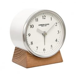 Forme white clock with wooden stand