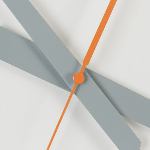 Grey hour and minute hands of clock shown with orange second hand