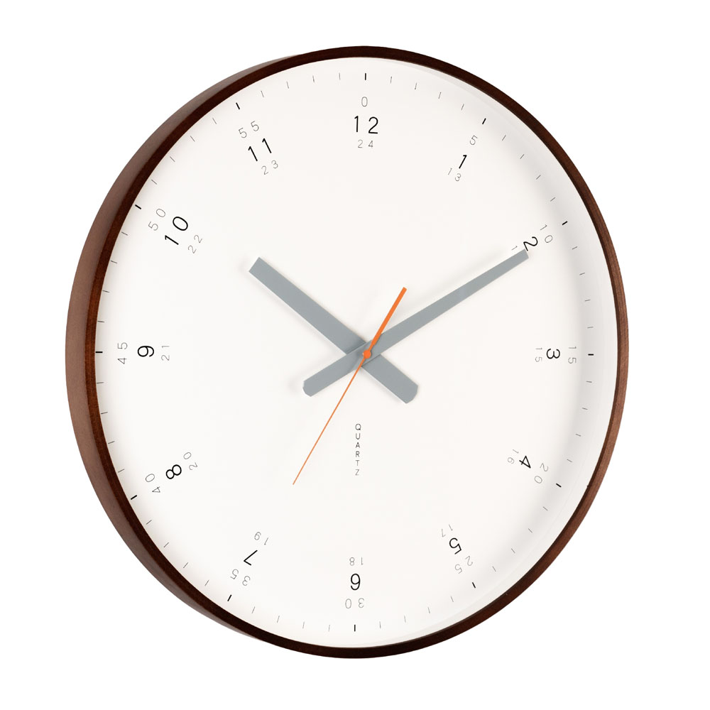 buy modern walnut wall clock online  purely wall clocks - modernwalnutwallclockangle
