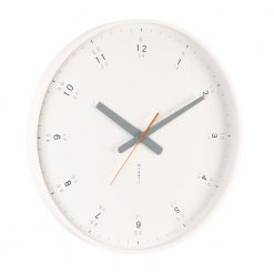 Large white wooden wall clock shown from angle
