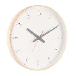 Modern wooden wall clock shown from angle highlighting beautiful wooden frame and grey hands