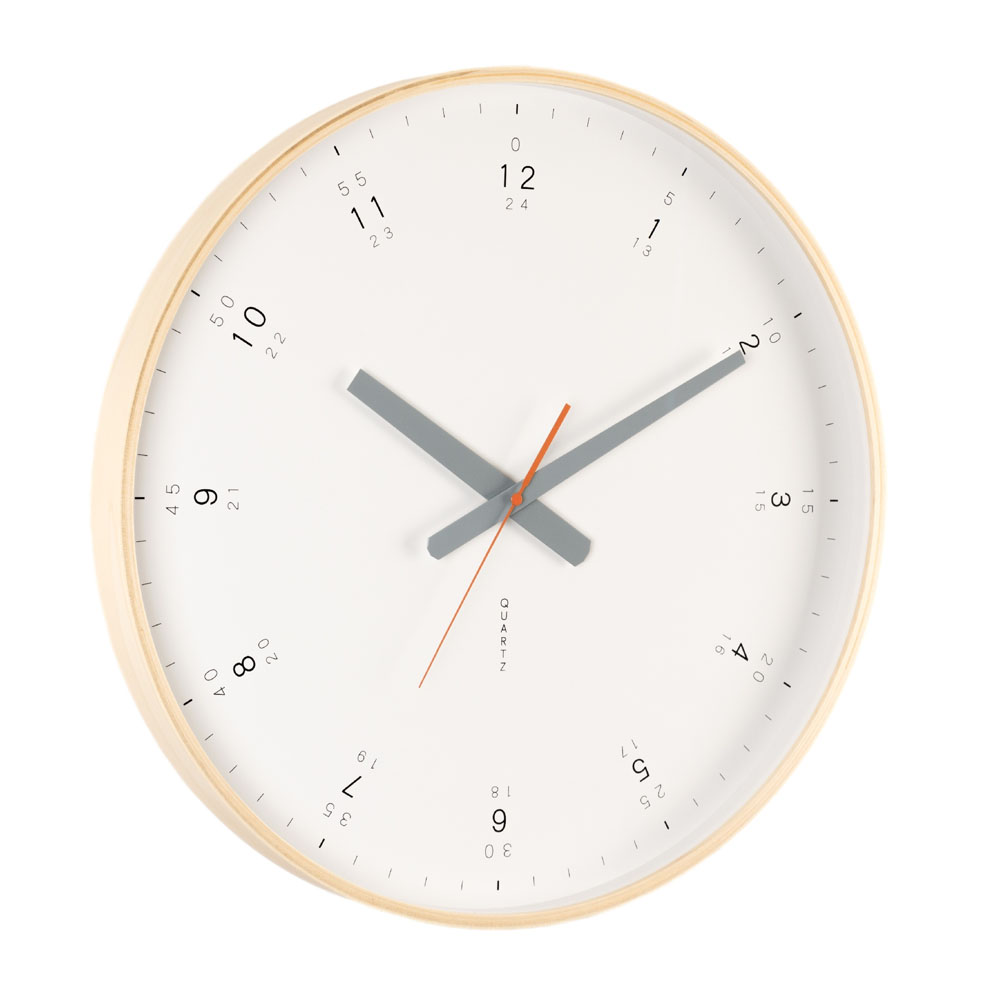 Buy wall clocks online purely wall clocks australia modern wooden wall clock shown from angle highlighting beautiful wooden frame and grey hands amipublicfo Image collections