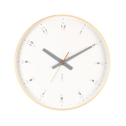 White clock face framed by a natural wooden frame