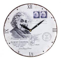 Round White Wall Clock with Albert Einstein Design