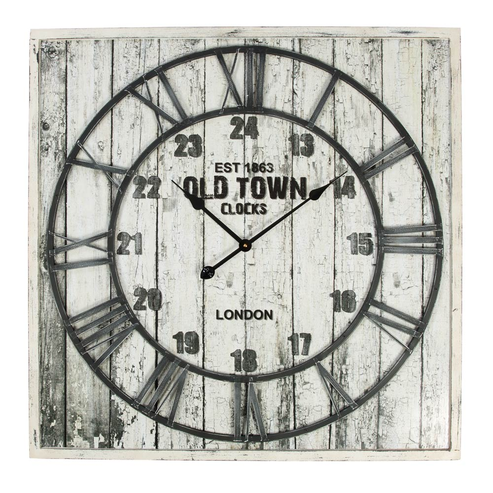 Buy Distressed White Decor Square Wall Clock Online