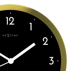 Zoomed in of Black and Gold Wall Clock with White Hands